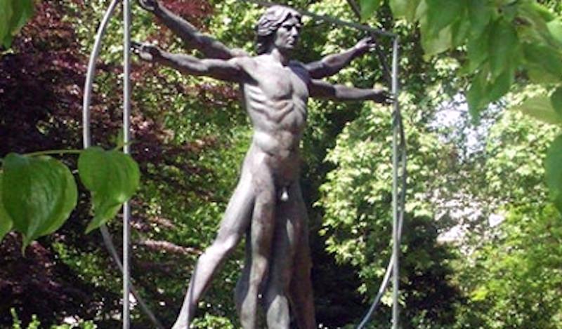 Vitruvian man statue