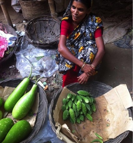 female farmer selling in market in Dhaka