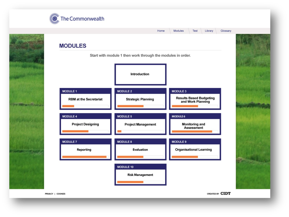 Mockup of module page