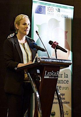 Rachel Slater presents at the Forest Governance Forum