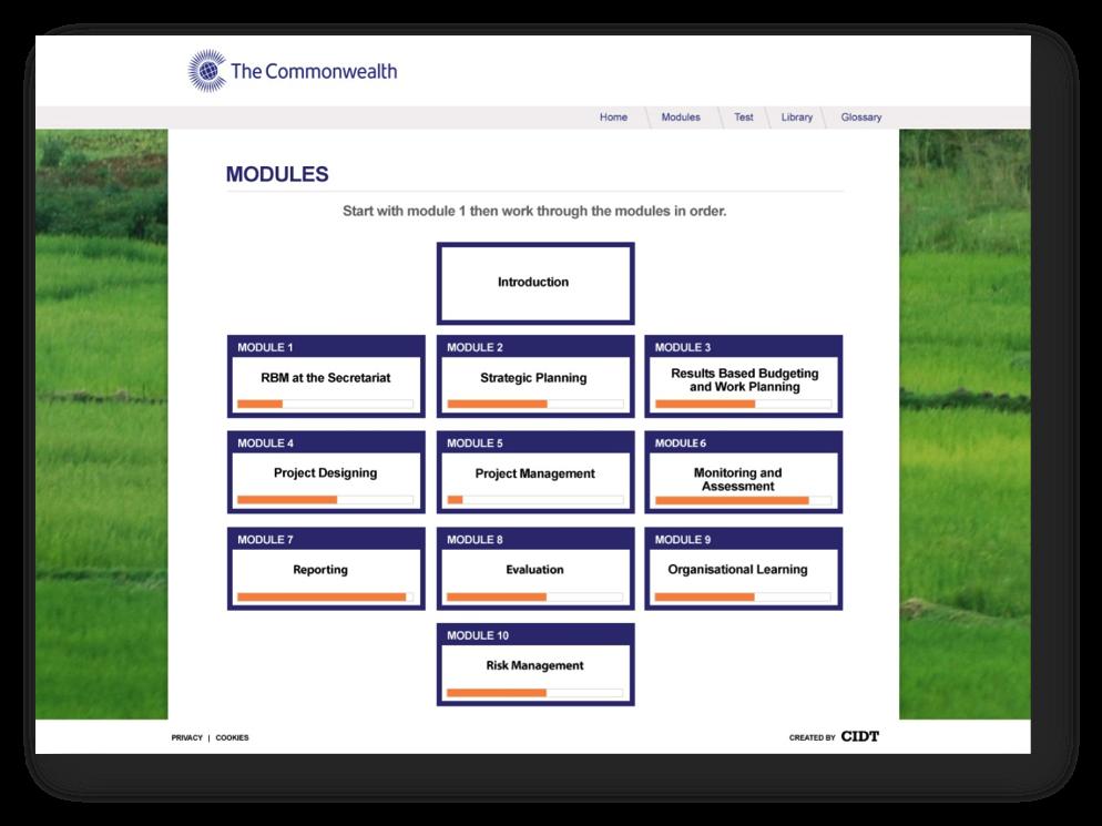 Mockup of module page