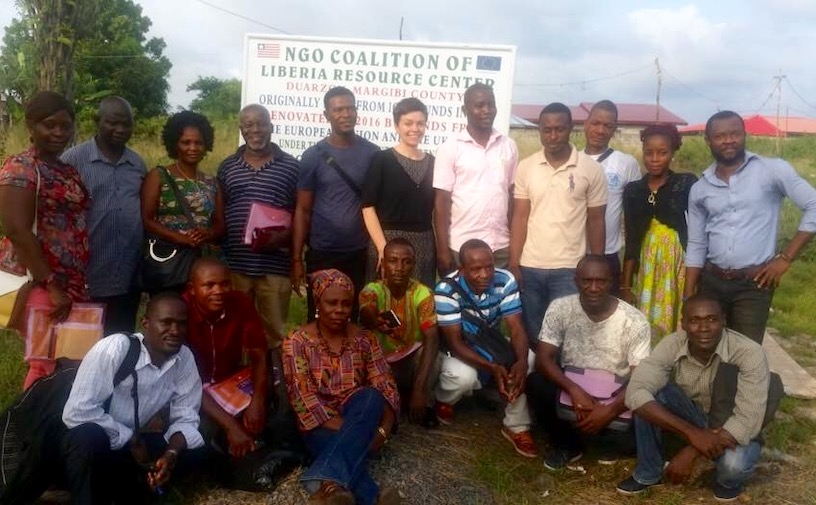CIDT's Sarah Thomas with colleagues in Liberia