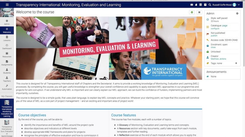 Online course in monitoring, evaluation and learning
