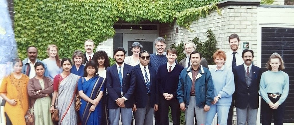Photo 1992, Walsall Campus in front of 'AETU' building: 9 senior Indian forestry service program participants and staff involved in its delivery. Ramesh Kumar Zutshi is front 4th from right.